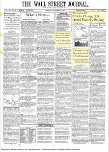 Copertina WSJ 19 Ottobre 1987